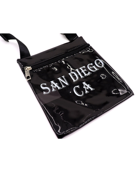 Passport Bag for passport, documents and money. This bag is clear black with black cross body strap that is adjustable and printed front with San Diego, CA block letters. Fun, functional, versatile and ready for upcoming vacation travel.