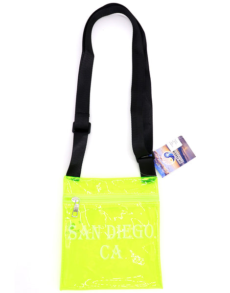Passport Bag for passport, documents and money. This bag is clear neon yellow with black cross body strap that is adjustable and printed front with San Diego, CA block letters. Fun, functional, versatile and ready for upcoming vacation travel.