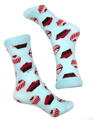 Men or Women unisex cupcake socks, that are oh so sweet for the baker in your family. Wear these cute socks to a slumber party or everyday to school, work, or just for fun to make others smile.