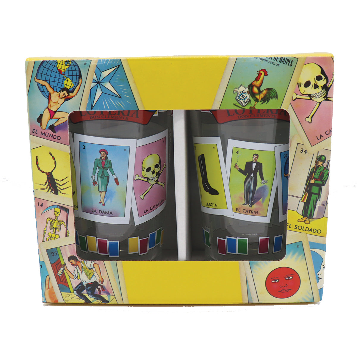 Loteria gift set front of yellow box packaging of Loteria Clear pub glass cup featuring some Loteria favorites La Dama la calavera la bota el catrin