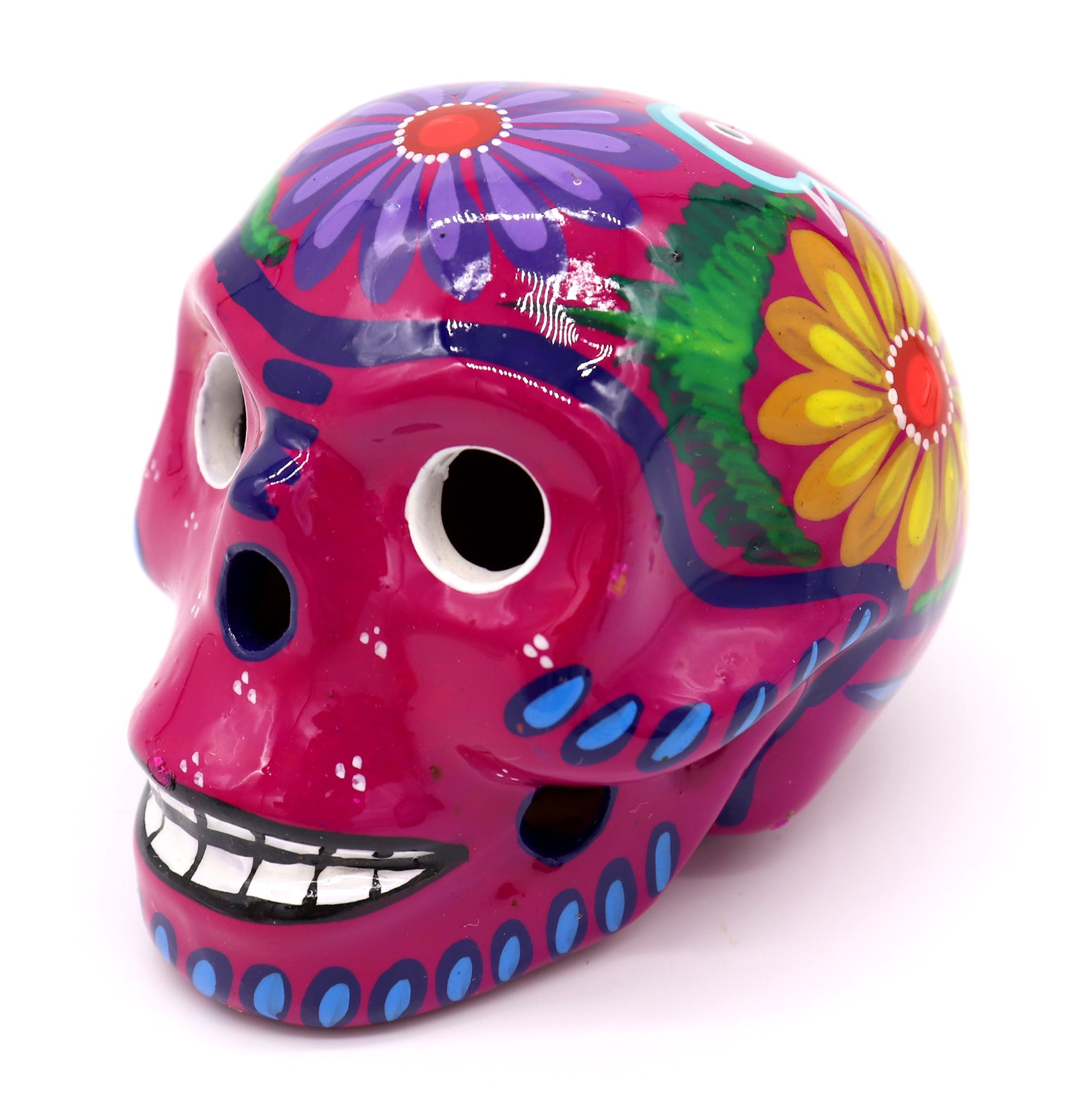 Talavera Small Skulls : Day of the Dead Guerrero Clay Sugar Skull - 2 3/4in