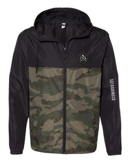 Men or Women Unisex Adult comfortable full zipper windbreaker jacket, in black and camouflage. With adjustable drawstring strings and side pockets. Design is exclusive by San Diego Trading Company.
