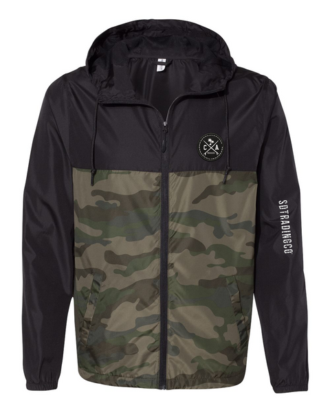Men or Women Unisex Adult comfortable full zipper windbreaker jacket, in black and green camouflage. Embroidered patch with surfboards and side arm embroidery with SD Trading. Adjustable drawstring strings and side pockets. Exclusive design by San Diego Trading Company.