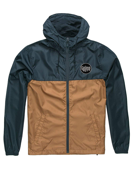 Gaslamp quarter, San Digeo jacket. Men or Women Unisex Adult comfortable full zipper windbreaker jacket,  in navy saddle wood.  With adjustable drawstring strings and side pockets. Design is exclusive by San Diego Trading Company.