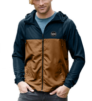 Men or Women Unisex Adult comfortable full zipper windbreaker jacket,  in navy saddle wood.  With adjustable drawstring strings and side pockets. Design is exclusive by San Diego Trading Company.