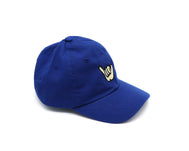 Solid Royal blue youth baseball cap with cartoon shaka hand embroidered on the center front
