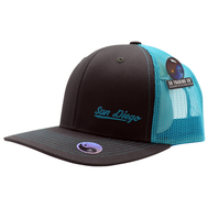 Adult trucker hat for men or women. Solid gray front with neon blue mesh that is cool and breathable for summer hot days. Embroidery San Diego on bottom left front corner and California on back. Spring break, coachella, las vegas, LGBTQ, spring, beach attire. Trendy poplar pop of neon color. Adjustable Snap back.