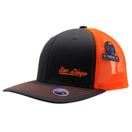 Adult trucker hat for men or women. Solid gray front with neon orange mesh that is cool and breathable for summer hot days. Embroidery San Diego on bottom left front corner and California on back. Spring break, coachella, las vegas, LGBTQ, spring, beach attire. Trendy poplar pop of neon color. Adjustable Snap back.