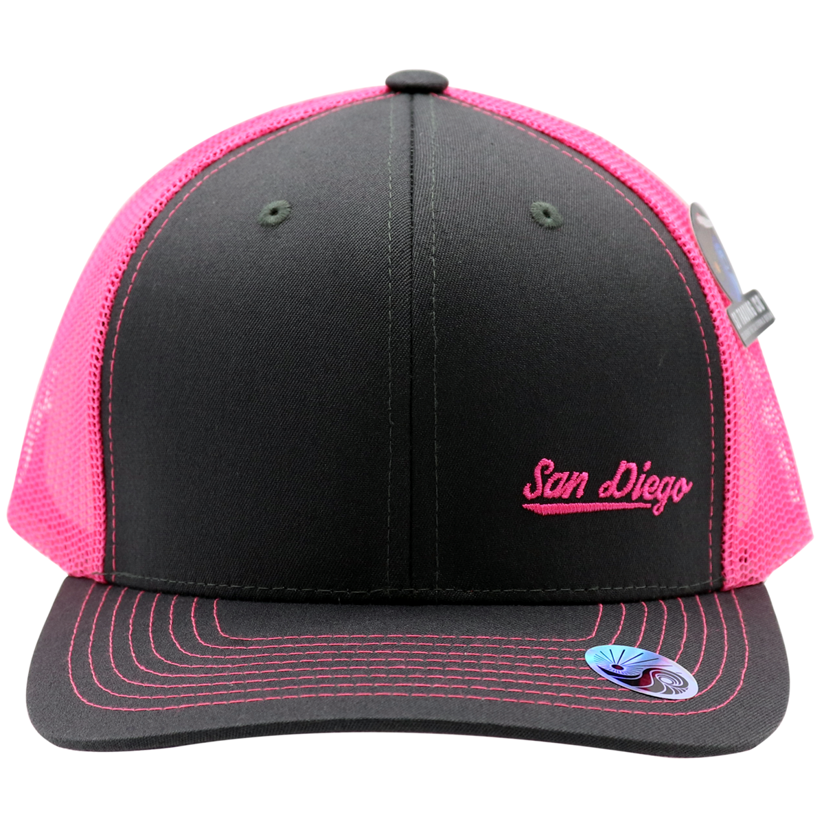 Adult trucker hat for men or women. Solid gray front with neon hot fuchsia pink mesh that is cool and breathable for summer hot days. Embroidery San Diego on bottom left front corner and California. Spring break, coachella, las vegas, LGBTQ, spring, beach attire. Trendy poplar pop of neon color. Adjustable Snap back.