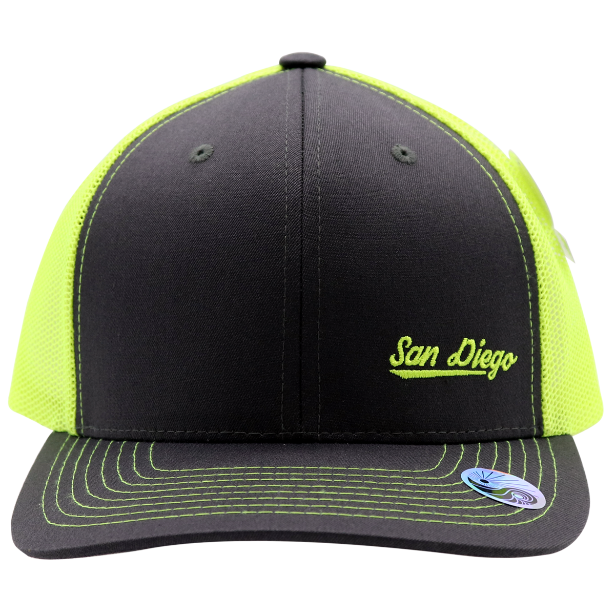Adult trucker hat for men or women. Solid gray front with neon yellow mesh that is cool and breathable for summer hot days. Embroidery San Diego on bottom left front corner. Spring break, coachella, las vegas, LGBTQ, spring, beach attire. Trendy poplar pop of neon color.