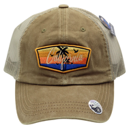Faded Khaki trucker hat 6 panels with a california patch featuring 2 palm tree silhouettes 5 birds and an ocean sunset