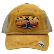 Faded Mustard trucker hat 6 panels with a california patch featuring 2 palm tree silhouettes 5 birds and an ocean sunset