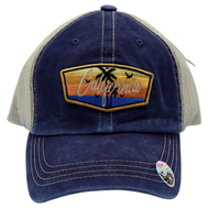 Faded Blue trucker hat 6 panels with a california patch featuring 2 palm tree silhouettes 5 birds and an ocean sunset