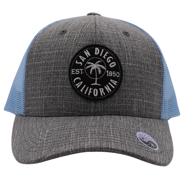 Invest Palms Embroidered Patch Trucker Hat Blue