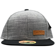 Unisex Men or women snapback hat in marble grey fabric with a small rectangular leather patch on the bottom left embossed with the word San Diego.