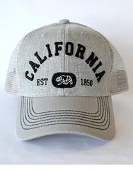 Adult light gray trucker hat baseball cap with curved visor and embroidered California Est 1850 verbiage in black with bear