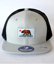 California Flag Patch Snap Back Adjustable Hat - Grey