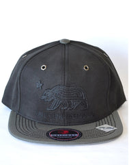Roped Bear CA Flag Suede Snap Back Adjustable Hat - Black