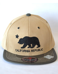 Roped Bear CA Flag Suede Snap Back Adjustable Hat