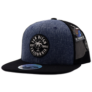 6 panel snapback hat with dark jean front panels featuring a black patch with white stitching and a single palm tree and San Diego Est 1850 California circling around it