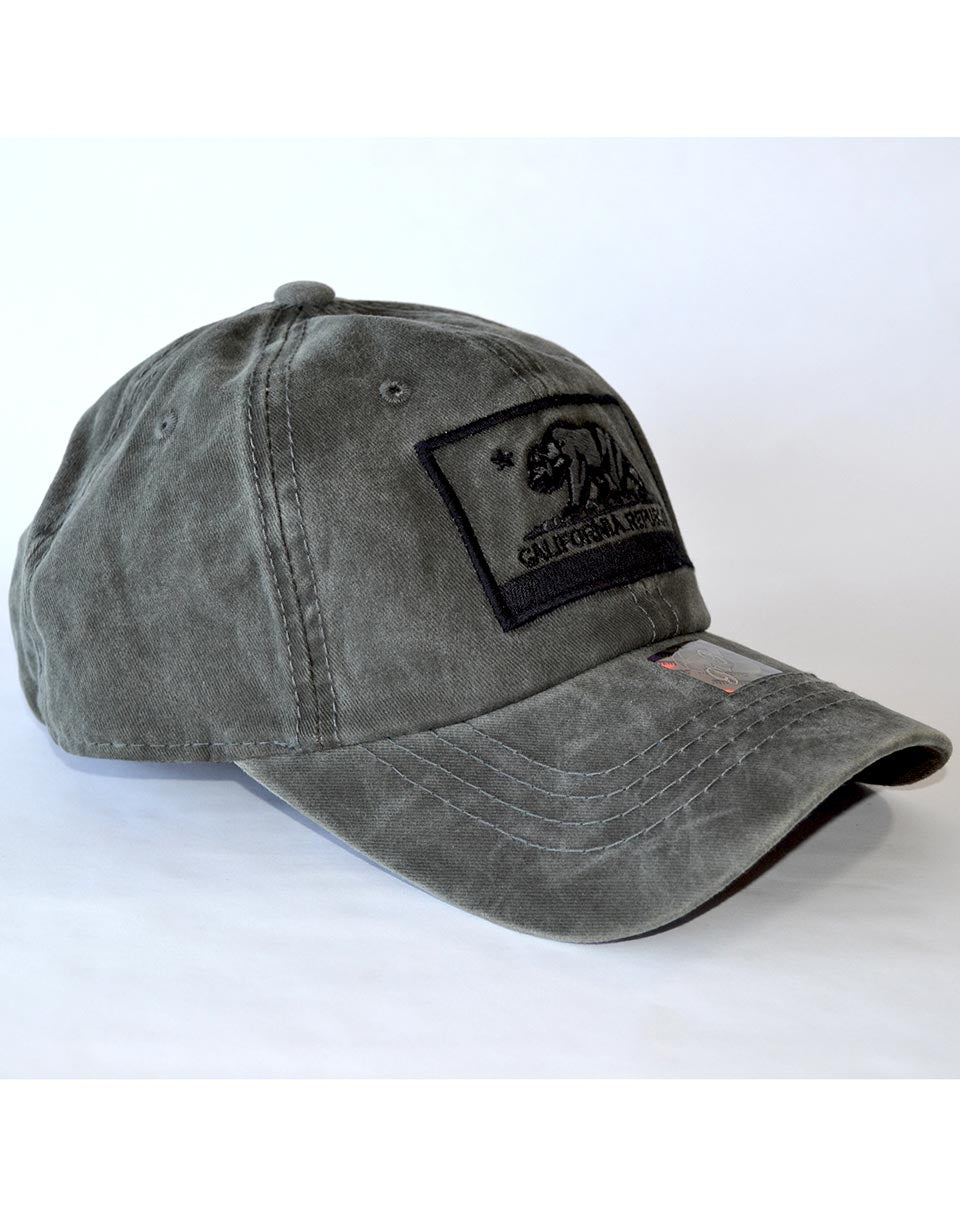 California Hat unisex men or women. Distressed washed out black on black cali republic bear baseball cap. Cool unique laid back visor hat.