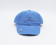Faded Sky Blue 6 panel dad hat with California written in the popular show Friends logo with the iconic red blue and yellow dots in between each letter