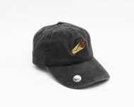 Faded charcoal unstructured adjustable hat with a bronze clasp in back and a California Burrito embroidered on the center front