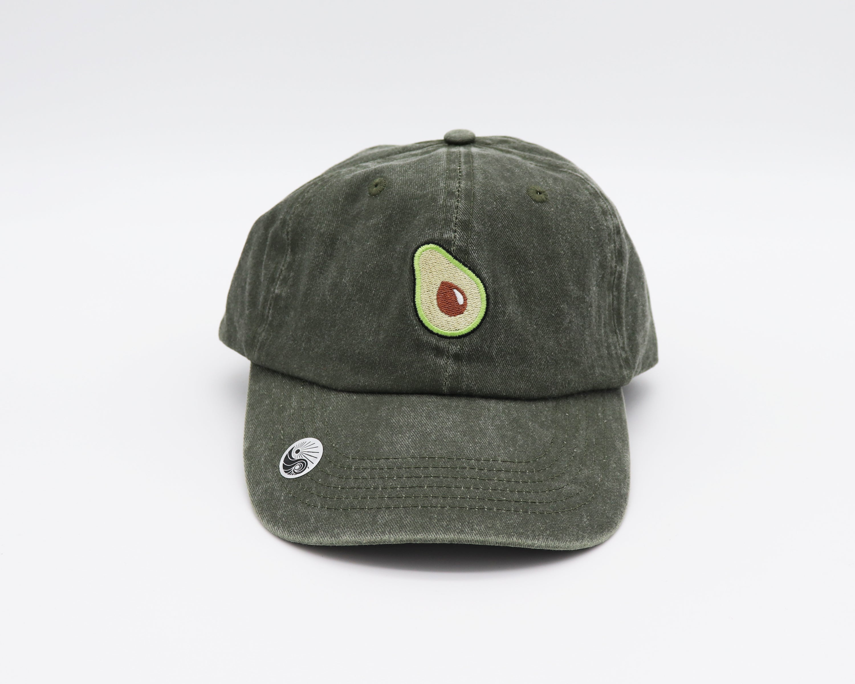 Faded Olive unstructured dad hat with a bronze clasp on back and  half an avocado embroidered in the center front