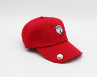 Solid red unstructured adjustable hat with a white embroidered circle mimicking Thing 2 but with devil horns and a tail and Trouble 2 verbiage in the middle