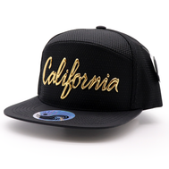 Shiny Black six panel snapback hat with Caifornia in Shiny Gold High Density material