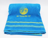 Towel Turquoise Blue embroidered with SD Trading Company logo. Dream big take you towel to the beach, on vacation, to the pool, or use at home
