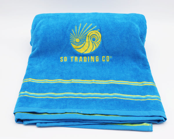 Towel Turquoise Blue embroidered with SD Trading Company logo. Dream big take your towel to the beach, on vacation, to the pool, or use at home