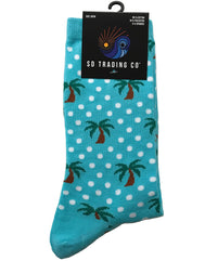 Tropical palm tree socks. Unisex for men or women. Teen or adult. Fun polka dots with cute palm trees. Great for vacations or the beach.