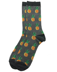 Pineapple socks fun bright golden pineapple on a grey color dressy background that make then fun socks for work or casual attire. These socks are comfortable, fashionable and make a statement. Adult pattern socks. Gift ideas. Exclusively Sold by SDTrading Co.