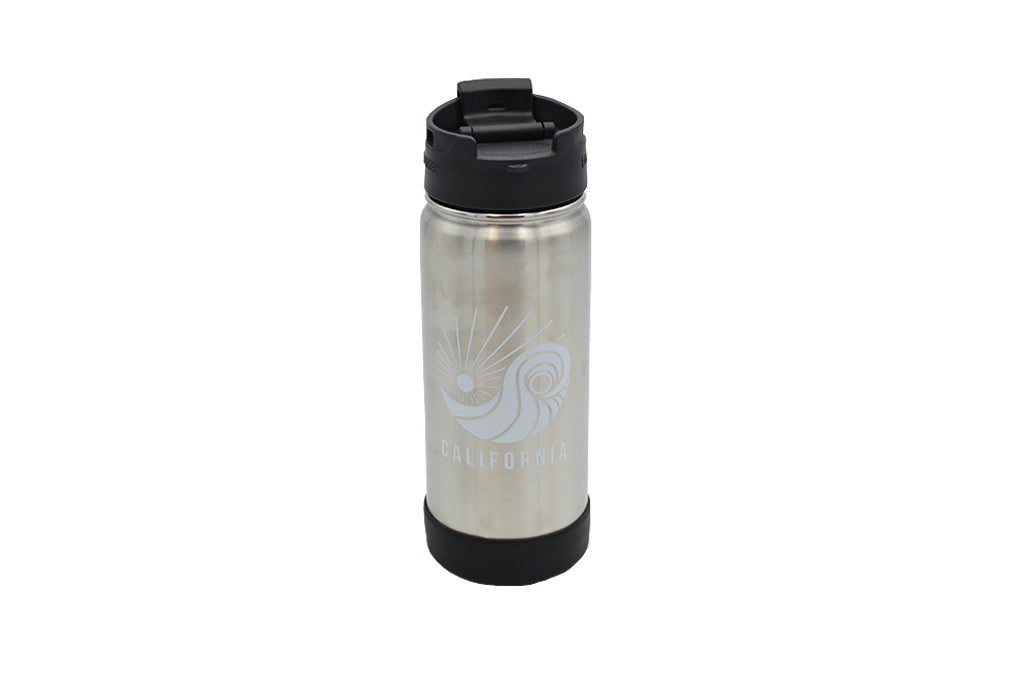 Thermo flask16 fl oz silver portable container for hot and cold brew coffee or tea with push button locking lid and a removable strainer. Custom Print SDTrading Co. Logo and California text