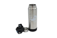 20 fl oz silver portable container for hot and cold brew coffee or tea with push button locking lid and a removable strainer