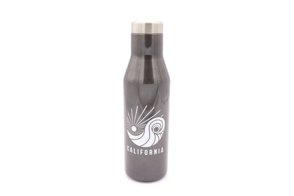 Insulated Thermo Cold or HoT 16 oz insulated stainless steel water or wine bottle and lid for hot and cold drinks. No Phthalate and BPA free. Keeps water cool all day. Color Grey Smoke. Custom printed with SDTrading Co. logo and California text at bottom.