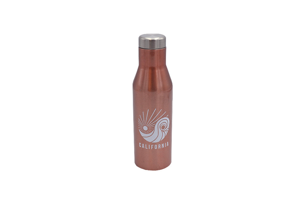 rose gold 16 oz insulated stainless steel water or wine bottle and lid for hot and cold drinks with silicone base No BPA, No phthalates, No liners