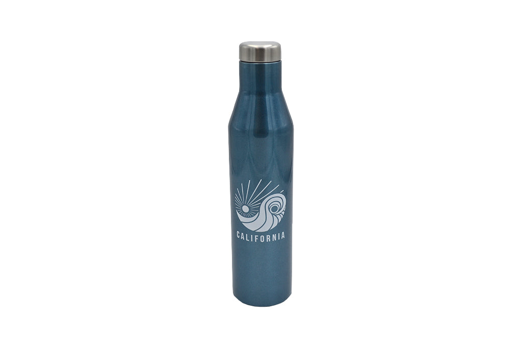 blue 25 oz insulated stainless steel water or wine bottle and lid for hot and cold drinks with silicone base No BPA, No phthalates, No liners