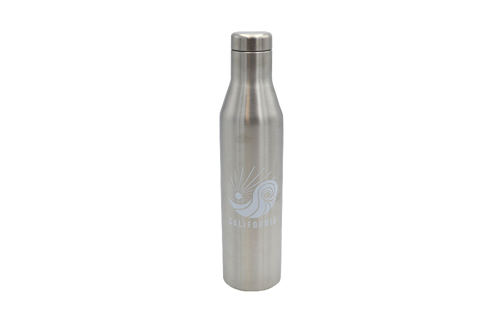 Silver 25 oz insulated stainless steel water or wine bottle and lid for hot and cold drinks with silicone base No BPA, No phthalates, No liners