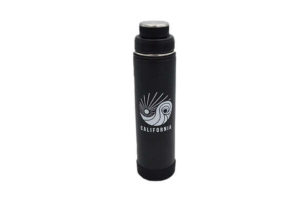 black 24 oz insulated stainless steel water bottle with removable strainer and dual opening lid and silicone base for hot or cold BPA Free, BPS Free, and Phthalate Free