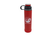 red 24 oz insulated stainless steel water bottle with removable strainer and dual opening lid and silicone base for hot or cold