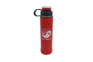Insulated Thermos color Red 20oz insulated stainless steel water bottle with removable strainer and dual opening lid BPA Free, BPS Free, and Phthalate Free. Keeps water cool all day. Can add fruit or tea to strainer for flavored drink .