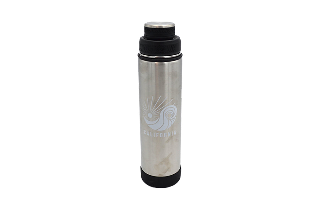grey 24 oz insulated stainless steel water bottle with removable strainer and dual opening lid BPA Free, BPS Free, and Phthalate Free