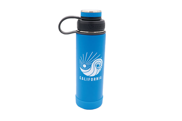Insulated Thermos color blue 20oz insulated stainless steel water bottle with removable strainer and dual opening lid BPA Free, BPS Free, and Phthalate Free. Keeps water cool all day. Can add fruit or tea to strainer for flavored drink.