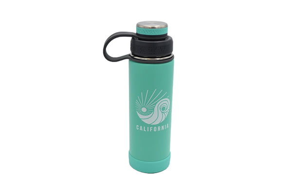 Aqua 20 oz insulated stainless steel water bottle with removable strainer and dual opening lid and silicone base for hot or cold