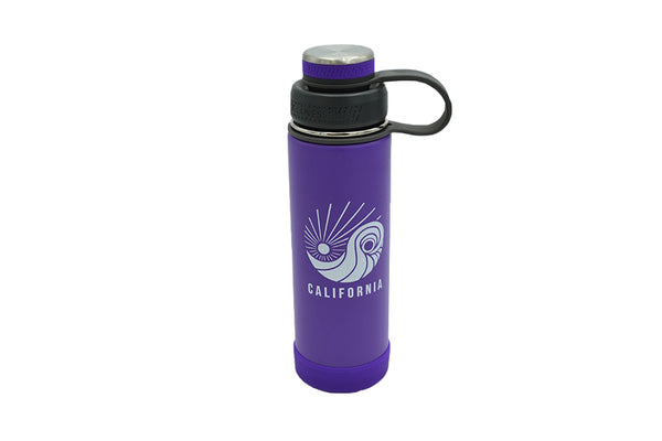 purple 20 oz insulated stainless steel water bottle with removable strainer and dual opening lid and silicone base for hot or cold