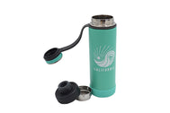 Thermo flask Insulated Thermos color Aqua insulated stainless steel water bottle with removable strainer and dual opening lid BPA Free, BPS Free, and Phthalate Free. Keeps water cool or hot all day. Stay hydrated add fruit or tea to strainer for flavored drink. Customized with SDTrading Co. logo and text California in white print on the front.