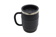 Black stainless steel double barrel mug with SDTC's Logo in white on the middle and a black open/close slide lid for cold or hot drinks