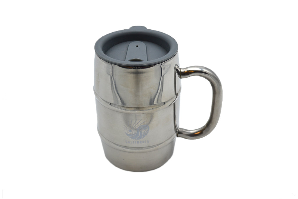 Silver stainless steel double barrel mug with SDTC's Logo in white on the middle and a grey open/close slide lid for cold or hot drinks